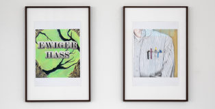 (from left to right). Marta Riniker-Radich, Untitled, 2021, colored pencil and pencil on paper, 21 x 29,7 cm. Photo ©Giulio Boem. Marta Riniker-Radich, No Fly- by-Night Pamphleteer, 2021, colored pencil and pencil on paper, 21x29,7cm. Photo ©Giulio Boem