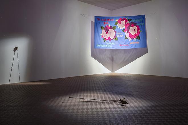 Nastasia Meyrat, Installation view of Trovate Ortensia, ICA Milan, Curated by Il Colorificio, 2021, Milan. Photo: Elena Radice