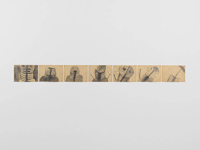 Miriam Cahn, schweigende schwester, 1980, pencil on paper, 7 drawings overall 21 x 220 cm. Courtesy the artist and Meyer Riegger, Berlin/Karlsruhe. Photo: Oliver Roura
