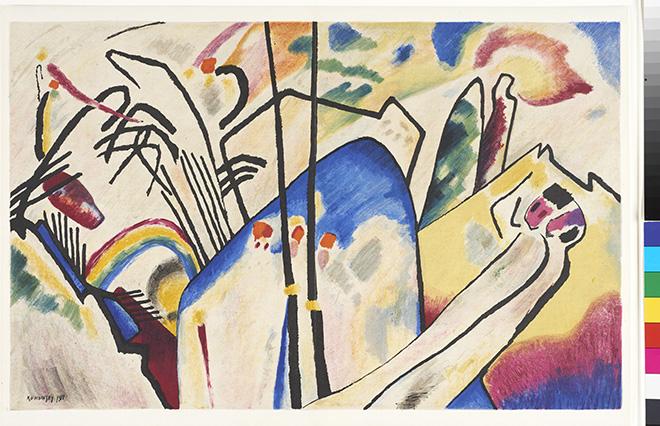 Vasilij Kandinskij (Mosca 1866 – Neuilly-sur-Seine 1944), Composizione IV, 1911 Litografia, Linz, Museo d'arte di Lentos.