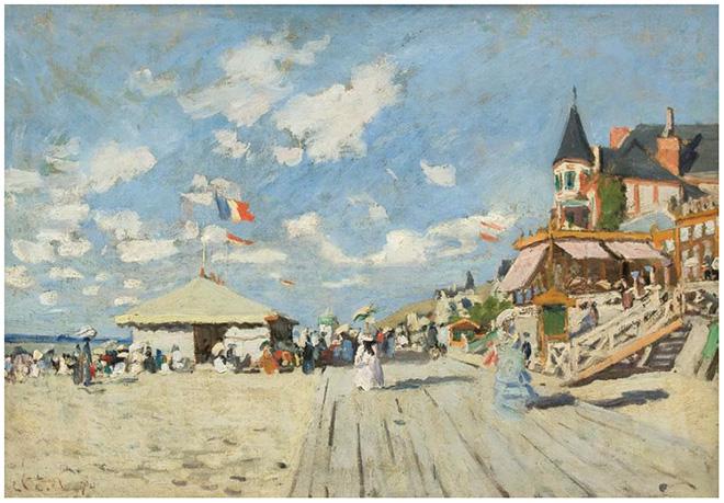 Claude Monet (Parigi 1840 – Giverny 1926), Sulle planches di Trouville, 1870 Olio su tela. Collezione privata friulana.